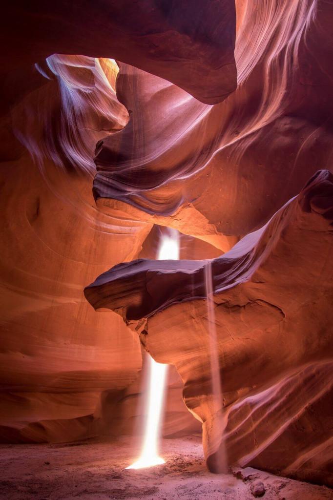 Antelope canyon lit by sunbeams